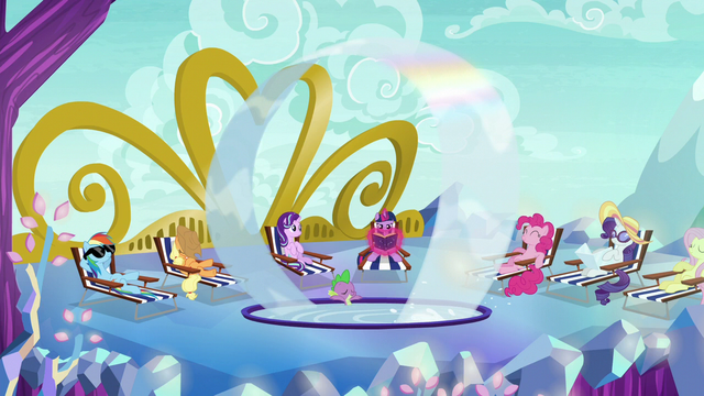 File:Starlight, Mane Six, and Spike chillax on castle roof S6E21.png