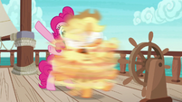 Pinkie spins Applejack around without warning S6E22