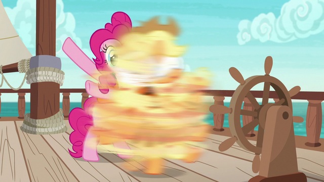 File:Pinkie spins Applejack around without warning S6E22.png