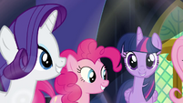 Rarity, Pinkie, and Twilight singing S4E26