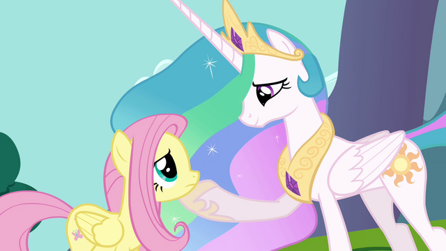 File:Celestia with hoof on Fluttershy's chin S03E10.png