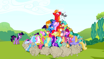 Ponies trying to grab Smarty Pants from Big McIntosh S02E03.png