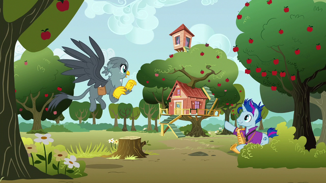 File:Bluenote pointing at the Crusaders' clubhouse S6E19.png