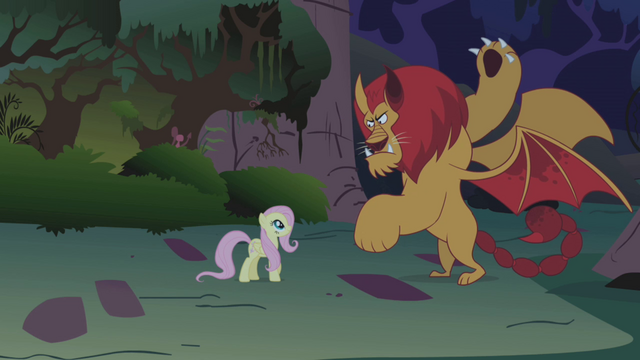 File:Fluttershy faces the manticore S1E02.png