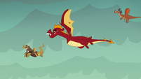 Garble flies toward Flame-cano Island S6E5