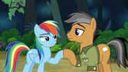Rainbow and Quibble hoof-bump of friendship S6E13