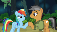 Rainbow and Quibble hoof-bump of friendship S6E13