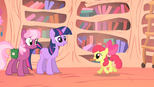 Twilight Sparkle and Cheerilee talking to Apple Bloom S1E18.png