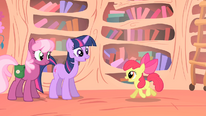 Twilight Sparkle and Cheerilee talking to Apple Bloom S1E18