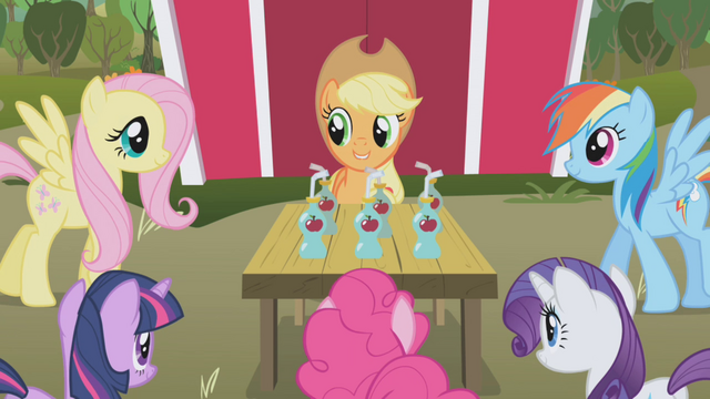 File:Applejack with the ponies S01E04.png