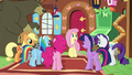 Main ponies happy to help Fluttershy S7E5.png