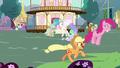 Main ponies having fun in Celestia's flashback S7E1.png