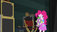 Pinkie Pie and Spike back out of the buffet area EGS2