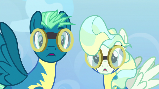 File:Sky Stinger and Vapor Trail hear ponies cheering S6E24.png
