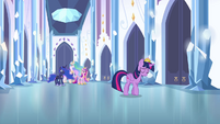 Twilight walking away from princesses S4E25