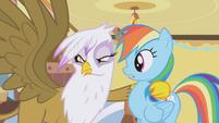 Gilda grabbing Rainbow Dash S01E05