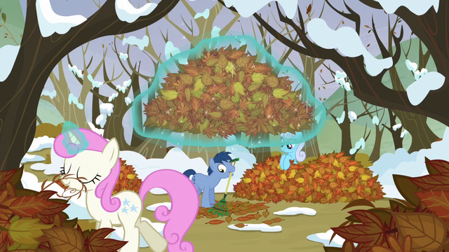 File:Ponies moving the leaves S5E5.png