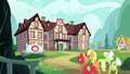 AJ, Big Mac, and Granny approach the Ponyville Hospital S6E23.png