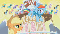 Applejack and Rainbow Dash arguing S1E11