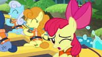 "Apple Bloom singing ""I won't feel so left behind"" S6E4"