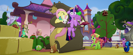 Harry hugging Fluttershy, Twilight, and Spike MLPTM