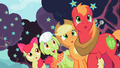 Apple family admiring third sign zap apple flowers S2E12.png