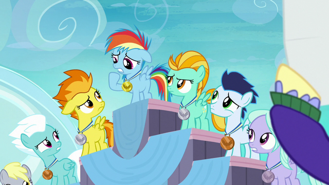 File:Pegasus foals annoyed by Rainbow's parents S7E7.png