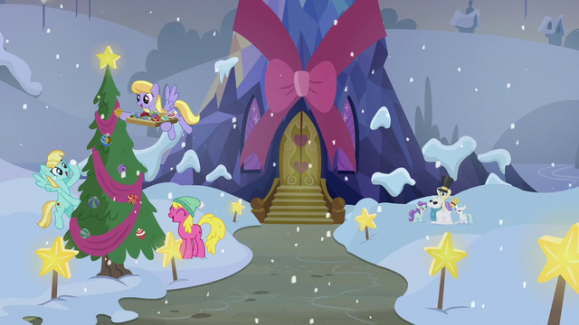 File:Ponies decorating the exterior of the Castle of Friendship S06E08.png