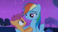 Rainbow Dash telling Scootaloo not to get into trouble S3E6