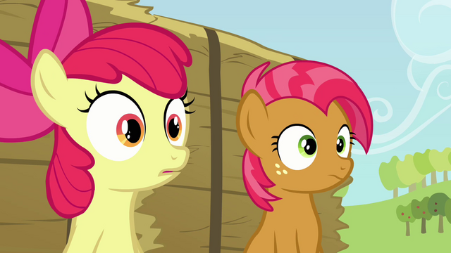 File:Babs and Apple Bloom hearing Applejack S3E08.png