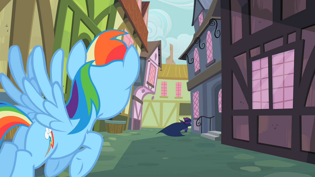 File:Rainbow Dash sees Mare Do Well running away S2E08.png