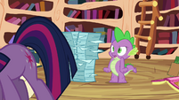 Spike tries to calm Twilight down S3E01