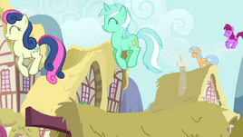 The ponies are jumping on rooftops S2E18.png