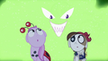 Pipsqueak and foal looking at scary face S2E04.png