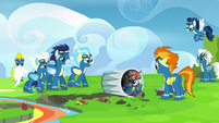 Wonderbolts laughing at Rainbow Dash S6E7