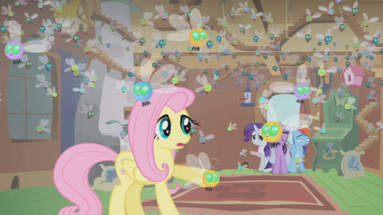 Fluttershy's cottage filled with parasprites S1E10.png