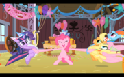 Pinkie Pie about to hug friends S1E25