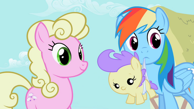 File:Rainbow Dash holding a foal S2E08.png