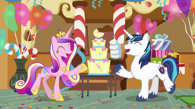 """File:Shining Armor and Cadance """"we're having a baby!"""" S5E19.png"""