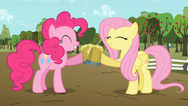 File:Pinkie Pie and Fluttershy celebrating with cider S02E15.png