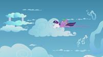 Twilight and Spike duck into a cloud S5E25