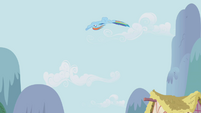 Rainbow Dash looping through the air S1E05
