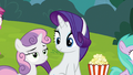 Rarity looking at bored-looking Sweetie Belle S7E6.png