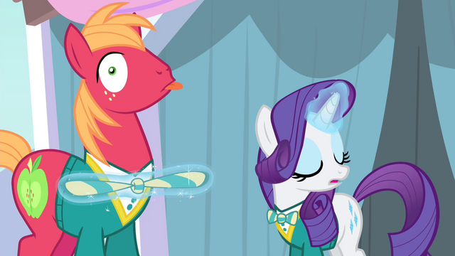 File:Rarity tying up Big Mac's bowtie S4E14.png