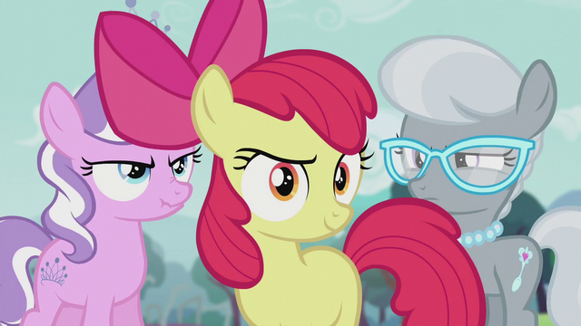 File:Apple Bloom in front of Diamond Tiara and Silver Spoon S5E18.png