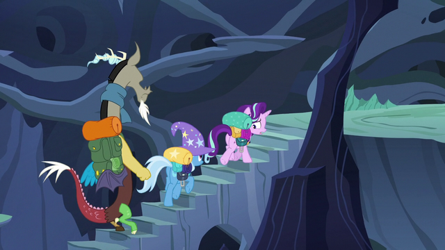 File:Discord, Trixie, and Starlight climbing hive steps S6E25.png