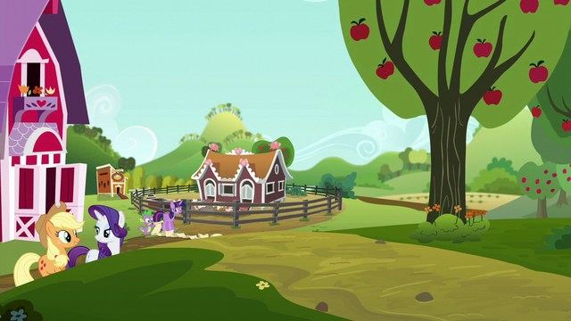 File:Applejack and Rarity leaving Sweet Apple Acres S6E10.png