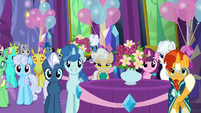 Ponies and changelings in dining hall right side S7E1