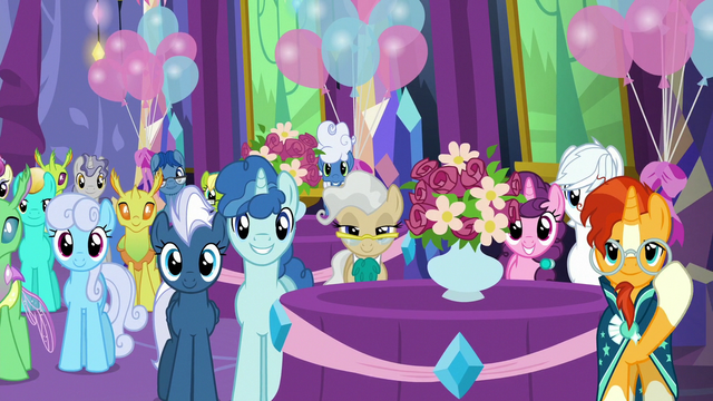 File:Ponies and changelings in dining hall right side S7E1.png