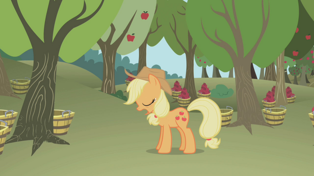 File:Applejack snoring while standing S1E04.png